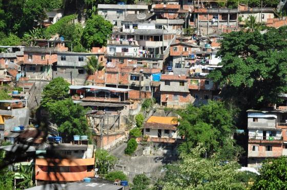 A favela climbing up the steep slopes of Rio.